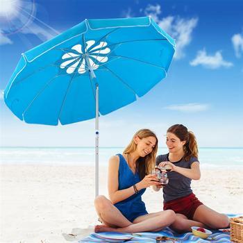 MOVTOTOP 1PC Flower Design Beach Umbrella UV Protection with Aluminum Pole Portable Wind Beach Umbrella Adjustable Sand Umbrella 2