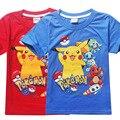 Camisa de Manga Corta de Los Niños Ropa de Niño de Dibujos Animados Pikachu Pokemon Camiseta Embroma la Ropa de Verano Ropa Para Adolescentes Monya