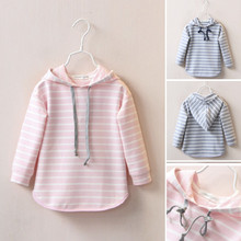 Girls sweater autumn section 2017 children's clothing children's striped stripe children's leisure hoodie baby hooded jacket