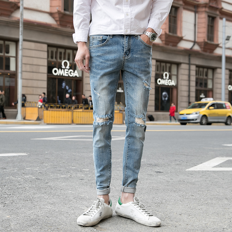 2018new cityboy Man Jeans Wash Holes Cowboy Trousers Fashion Joker Beggar Pants The new listing Favourite Free shipping