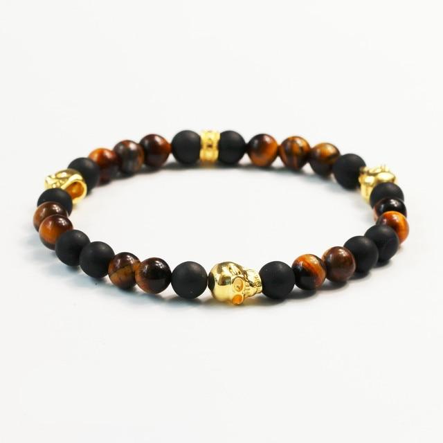 Thomas Style DIY Handmade Natural Stone Strand Bracelet European Jewelry Golden Skull Black Matte Bead&Tiger Eye Bracelet