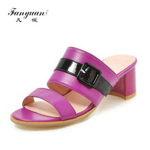 fanyuan  High Heels Sandals Women Fashion Buckle Summer Square Heel Shoes Casual Party Wedding Sexy Slippers Size 34-46