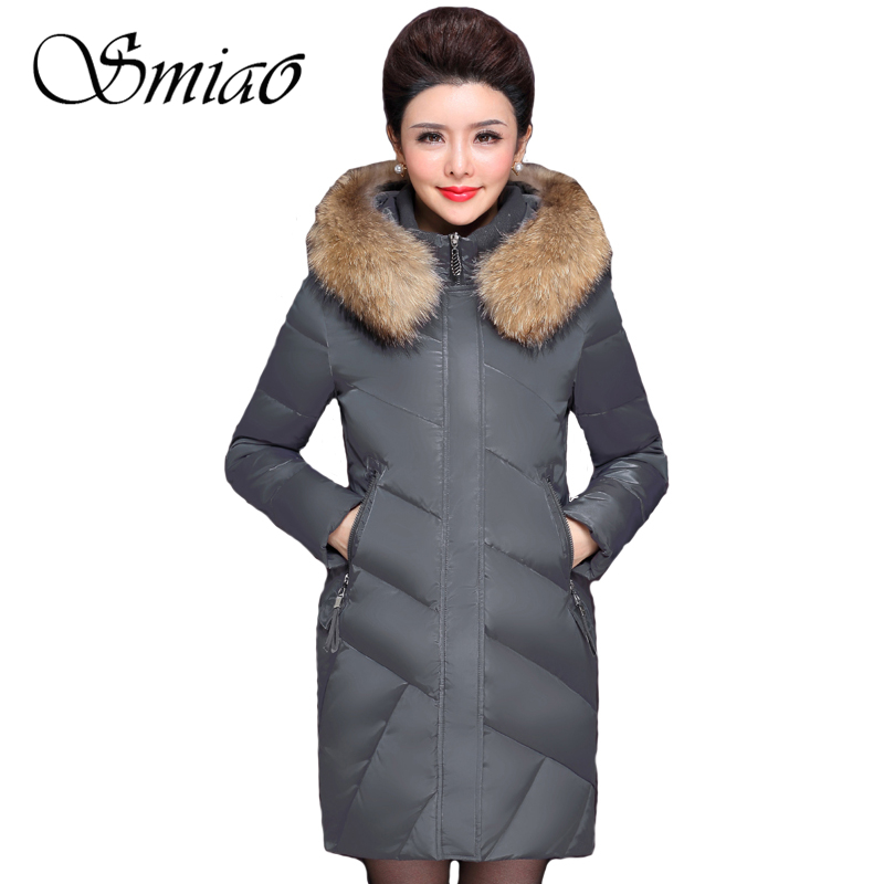 Smiao 2017 Really Raccoon Fur Collar White Duck Down Winter Jacket Women Long Coat Female Parkas Plus Size Thick Warm Outerwear цены онлайн