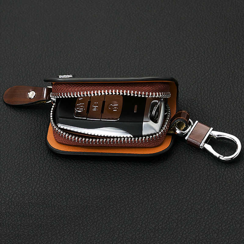 SNCN Leather Car Key Case Cover Key Wallet Bag Keychain Holder For Jeep Compass Wrangler Grand Cherokee Renegade Liberty