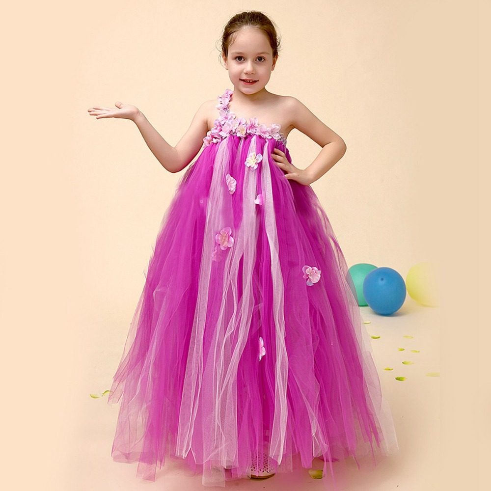 Kids Children Flower Girls Ball Gown Organza Mesh One-Shoulder Princess Tutu Dresses Baby  Wedding Party Dress Vestidos S3538