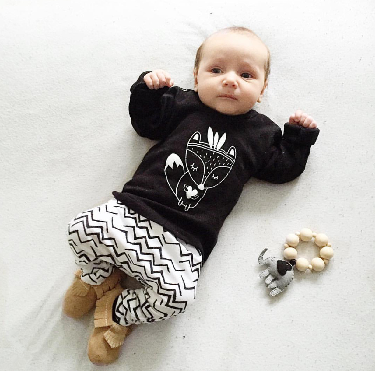 2017 Baby Clothes Ruffle Long Sleeve Tiny Cottons Fox Print Funny Tshirt + Long Pant 2Pcs Infant Clothing Set Sunsuit Outfits funny baby funny baby twin 2