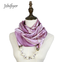 Jzhifiyer Scarf Mujer Pendant Necklace Jewellery Echarpe Hiver Hijab Feminino Fashion Silk Print Pendant Jewelry Shawls