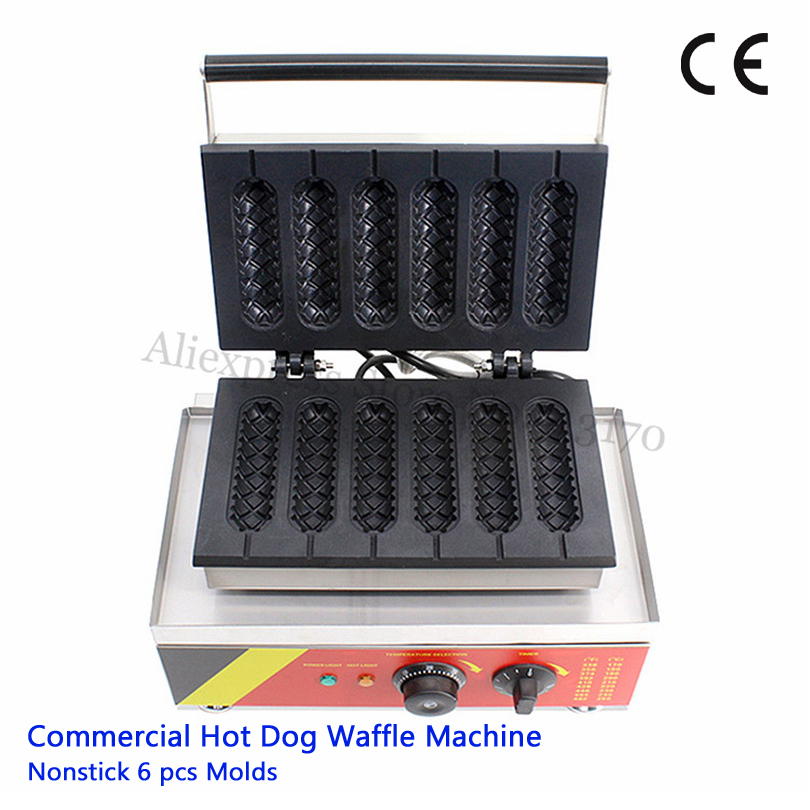 Nonstick Sausage Hot Dog Waffle Machine Stainless Steel Stick Lolly Waffle Baker Maker Fast Food Snack Amusement Park Brand New image