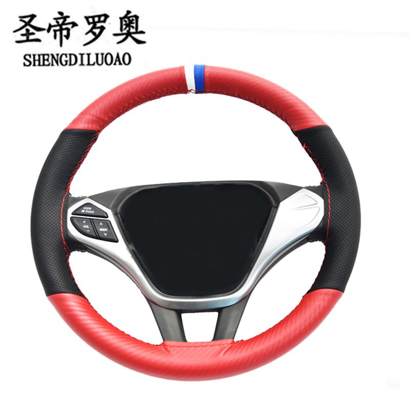 Universal 15 inch handsew breathable microfiber leather sport style car steering cover with strong flexibility and good handle