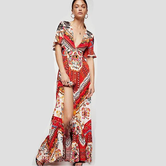 Women Boho Dresses Print Maxi Long Summer Cotton Long Beach Dress
