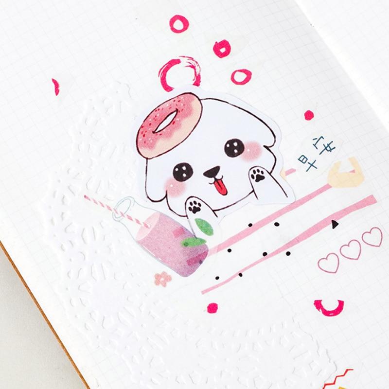 Купить с кэшбэком 45pcs/box kawaii Greedy puppy DIY stickers decoration diary posted album scrapbooking decorations sealing stickers stationery