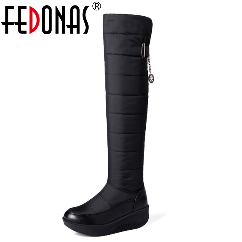 FEDONAS Women Winter Snow Boots Fashion Warm Platforms Shoes Woman Over The Knee Boots Fur Thigh High Boots Big Size 34-44