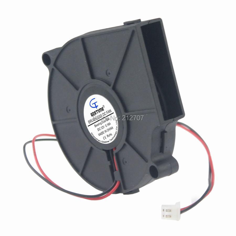 1 Pcs Gdstime 75mm x 15mm 7515 Ball Bearing 12V Black Brushless DC Cooling Blower Fan