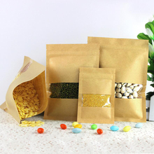 100 Pcs Kraft Paper Food Bag with Zip Lock, Reusable Sealing Bag Pouch with Clear Window for Storing Cookie Dried Food Snack wet food felix appetizing pieces for kittens with chicken pouch 24x85 g