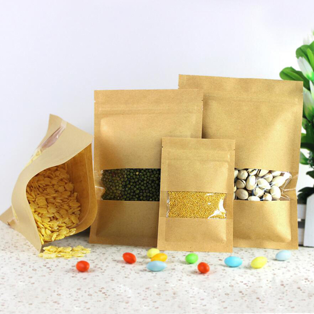 100 Pcs Kraft Paper Food Bag with Zip Lock, Reusable Sealing Bag Pouch with Clear Window for Storing Cookie Dried Food Snack