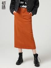 Toyouth エレガントな足首の長さのソリッドカラーの女性秋冬綿ハイウエストの女性ボタンペンシルヴィンテージパーティースプリットスカート