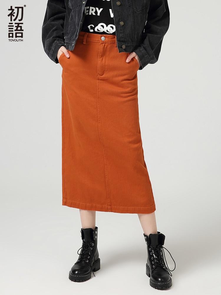 Toyouth Elegant Ankle Length Solid Color Women Autumn Winter Cotton High Waist Ladies Button Pencil Vintage Party Split Skirt
