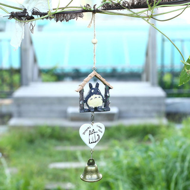 Exceptional Japanese Totoro Wind Chime Wooden House Landscape Garden Car Hanging Ornaments  Wind Bells Nautical Home Decor