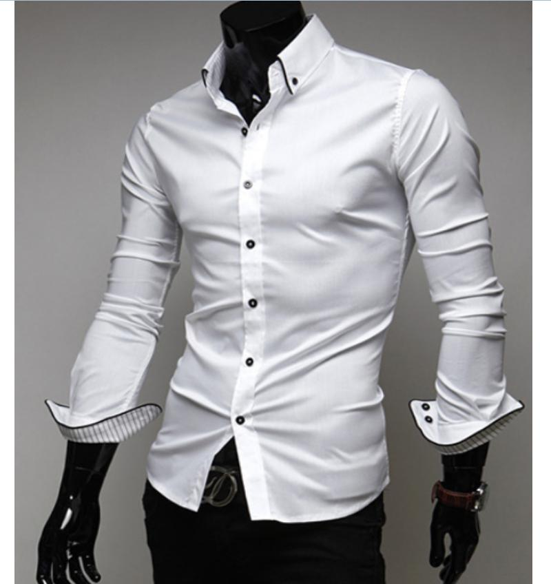 096c2a4609b US $6.27 17% OFF|Black White sHIRT Luxury Stylish Men's Dress Shirt Slim  Fit Long Sleeve T Shirt Formal Shirts-in T-Shirts from Men's Clothing on ...