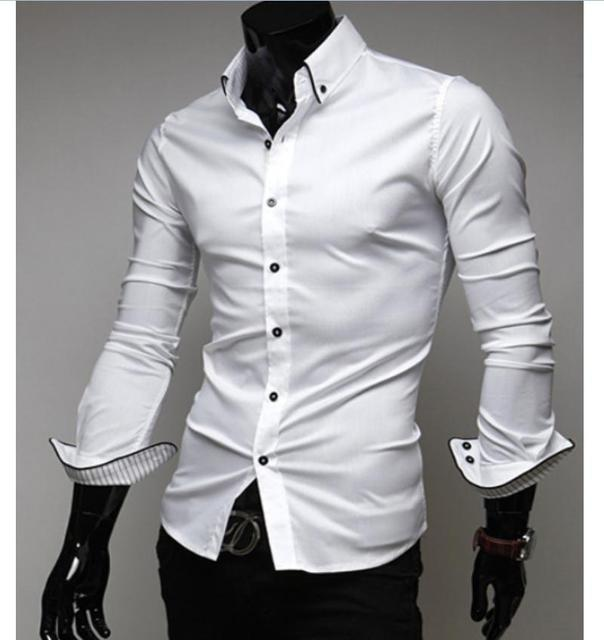3c53ada4fb9 Black White sHIRT Luxury Stylish Men s Dress Shirt Slim Fit Long Sleeve T  Shirt Formal Shirts