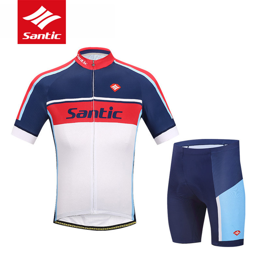цена на Santic 2017 Men Cycling Jersey Sets Anti-UV Racing Team Sports Wear MTB Road Bicycle Bike Jersey Cycling Clothing Ropa Ciclismo