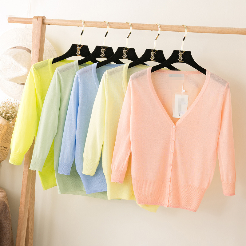 2017 New Summer Women Thin V-Neck Three Quarter Sleeve Casual Candy Color Loose Ice Silk Sweater Cardigan Lady Knitting Outwear