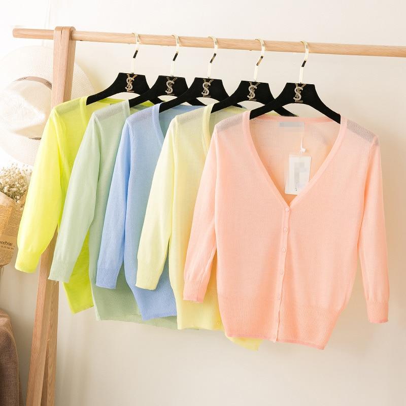 2019 Jaunas vasaras sievietes plānas V-kakla trīs ceturtdaļas - Sieviešu apģērbs
