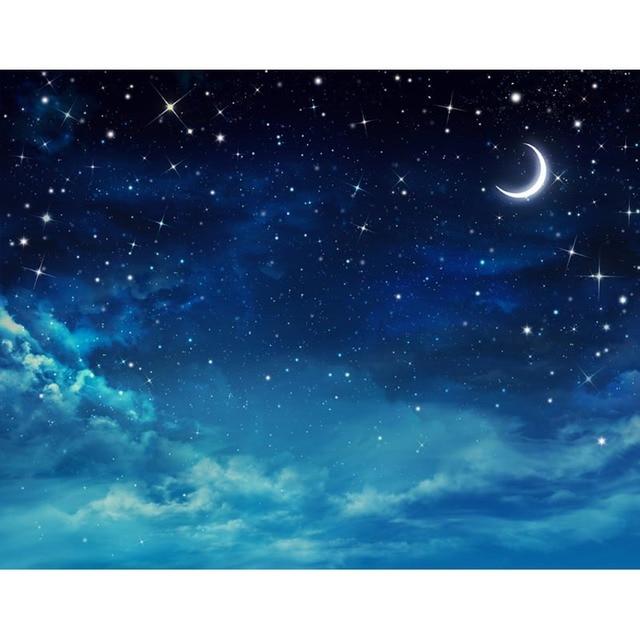 Horizontal Vinyl Cloth Beautiful Starry Sky Moon Night