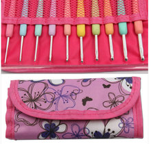 10Pcs/Set With Bag KOKNIT Candy Color DIY Knitting Crochet Hooks Set -Pink Case Craft Sewing Tools For Women Gift
