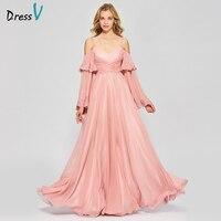 Dressv elegante rosa lungo prom dress maniche lunghe semplice una linea di spaghetti cinghie appliques da sera del partito vestiti da promenade