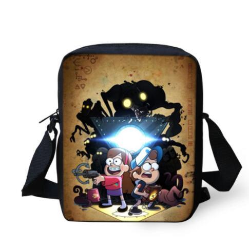 Children School Bags Boys Gravity Falls Small Messenger Bag for Kids Cartoon Printing Bo ...