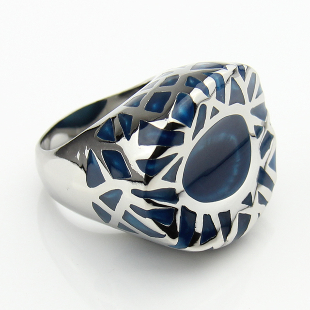 LYCOON New Arrival Fashion man or woman big ring stainless steel four color resin imported Enamel ring in nest shape LYR0014