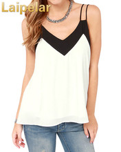 Sexy Women Plus Size Chiffon Top Strap Contrast V-Neck Sleeveless Vest Top Camisole White Fashion Summer Casual Tank Top недорого