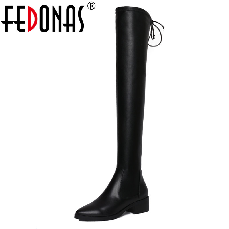 FEDONAS Over The Knee High Boots Fashion Women Thick Heels Pointed Toe Autumn Winter Slim Long Shoes Woman Tight High Boots fedonas top fashion women winter over knee long boots women sper thin high heels autumn comfort stretch height boots shoes woman