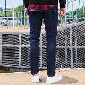 Image 4 - Tiên phong Trại Mới đến màu xanh đậm người đàn ông gầy quần jean thương hiệu quần áo thời trang chân quần nam hàng đầu chất lượng denim quần ANZ707023