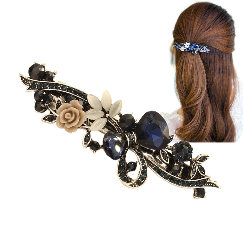 2017 New Luxury Crystal Hair Clip Opal Leaf Resin Flower   Headwear   Jewelry OL For Women Girls Elegant Barrettes Hair Accessories