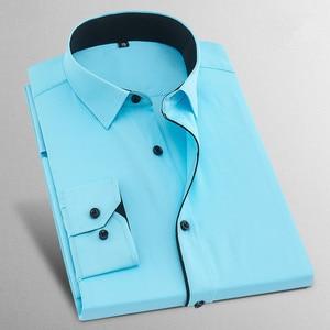 Image 5 - Camicie da Uomo 2017 Nuova Primavera di Zecca Twill Manica Lunga affari Formal Dress Mens Camicie Casual da Uomo Solido Da Sposa 8XL X568