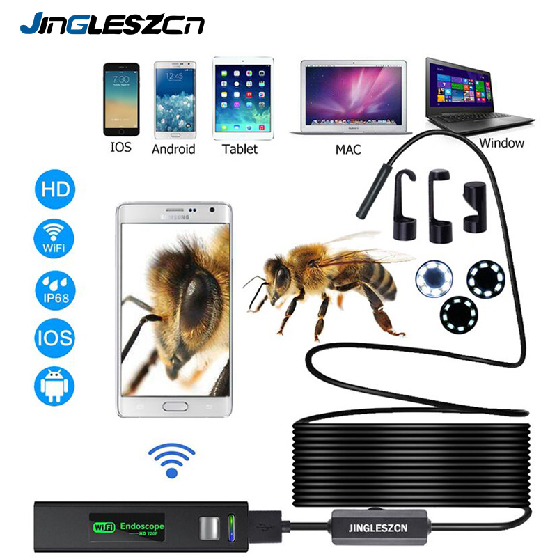 Cámara endoscópica WIFI HD 1200 P 1-10 M Mini impermeable cable duro inalámbrico 8mm 8 LED boroscopio cámara para Android PC IOS endoscopio