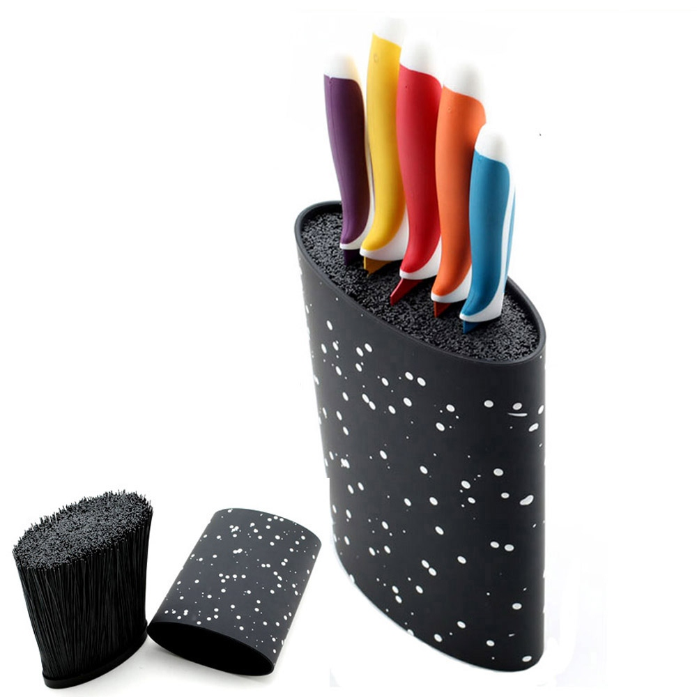 Oval Knife Block Holder With Black Nylon Insert Kitchen Knife Stand For Knives Tool Holder Storage Kitchen Knife Stand Blocks