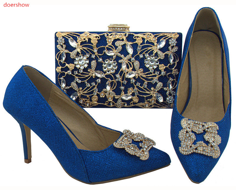 doershow royal blue Shoe and Bag Italy High Quality Women Shoe and Bag To Match for Party Nigerian Women Shoe with Bag!SWR1-22 doershow shoe and bag to match italian african shoe and bag sets women shoe and bag to match for parties african shoe htx1 18