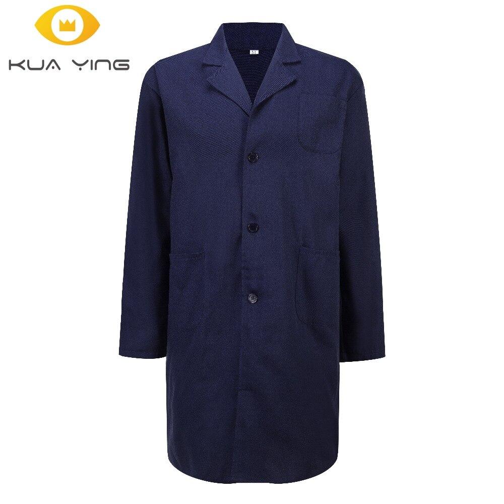 hospital Lab Coat Unisex Large size Lab Uniforms Navy Blue medical clothing white