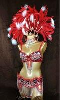 Free Shipping HOT SALE Parade 2015 Sexy Samba Rio Carnival Costume Feather Headdress