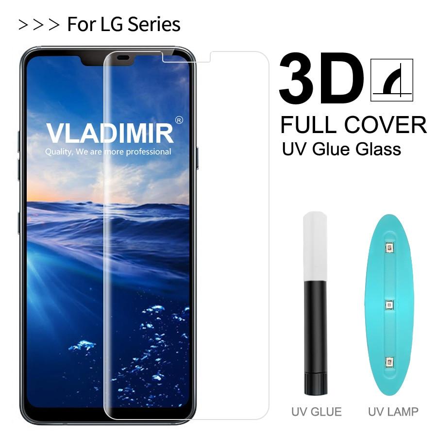 Vladimir 3D Curved Full Cover Tempered Glass For LG V30 V40 G7 ThinQ UV Glue Screen Protector Film