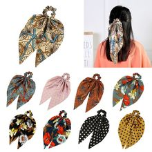 2In1 Butterfly Bowknot Hair Scrunchies Faux Silk Scarf Tie Polka Dot Floral Retro Ponytail Holder Women Styling Accessories