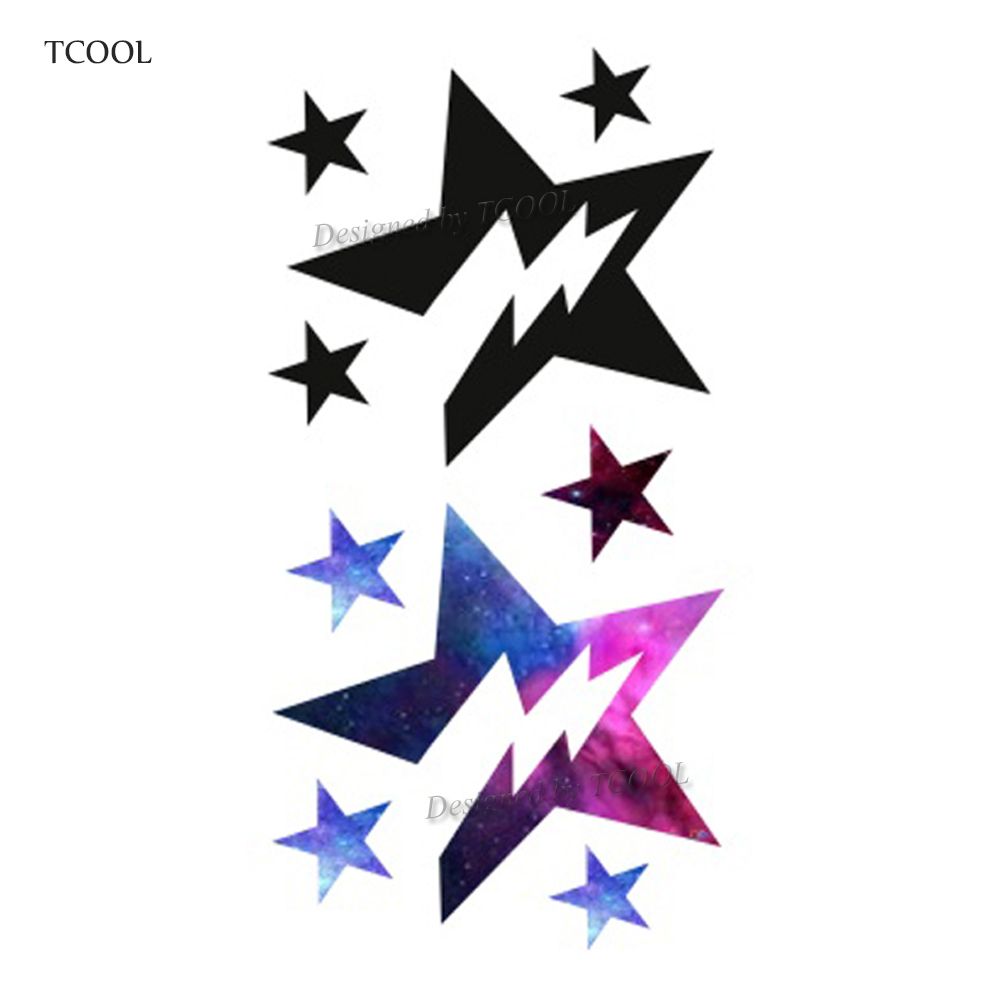 HXMAN Colorful  Five Pointed Star Temporary Fake Tattoo Body Art Sticker Waterproof Face Tattoo Sticker For Women 10.5X6cm G-016