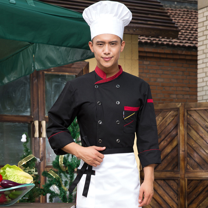 Hotel Chef Wear Long Sleeved Cooker Baker Uniform Cake Room Hotel Restaurant Costume Pastry Chef Kitchen Clothes B-5573