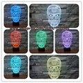 Nuevo 2017 Cool 3D Skull Light lámpara de Mesa Lámpara de Dormitorio RC juguete Kid Noche de Dormir Bebé saco de Dormir Infantil Nightlight Home Party Deco regalos