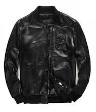 Sheep skin !! autumn and winter men's brand Genuine Leather jacket Baseball collar skull jacket clothing / S-XXL Free shipping !