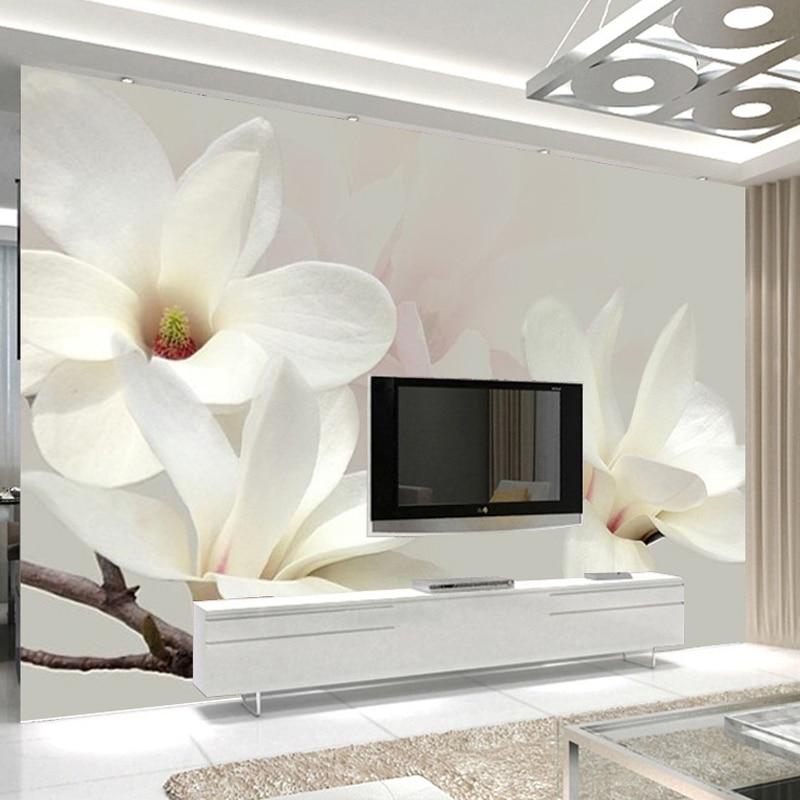 White Flower Wallpaper 3d Aliexpress Com Buy Custom Photo Mural Wallpaper Modern