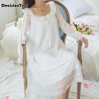 2019 sexy long sleep lounge cotton sleepwear female home dress lace princess vintage nightgown women sleeping dress